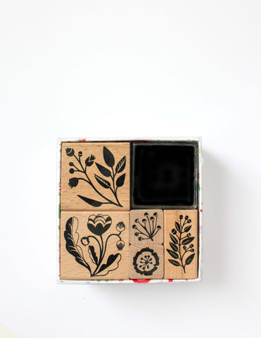 Romantic Flowers Rubber Stamp Set