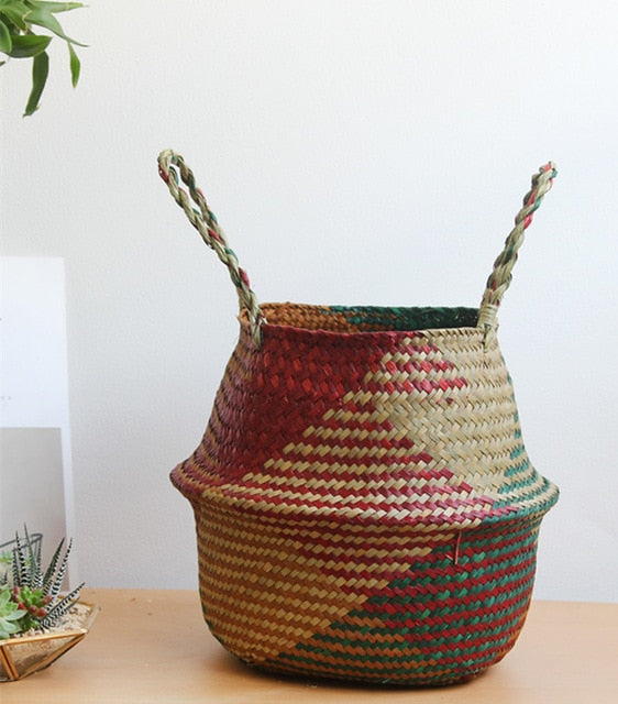 Colorful Sea-grass Rattan Flower Basket