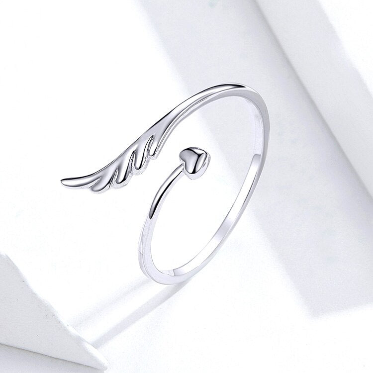 Adjustable Angel Wing Heart Ring
