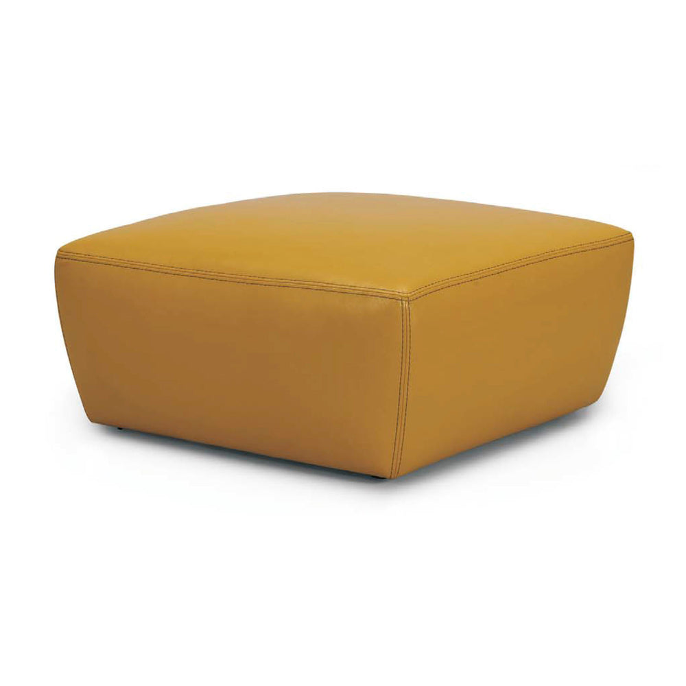 TAPPERED LEATHER OTTOMAN