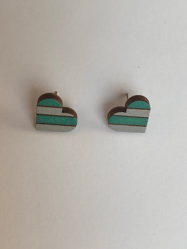 Stripped Heart Stud Earrings