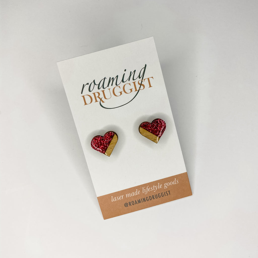 Asymmetric Heart Stud Earrings