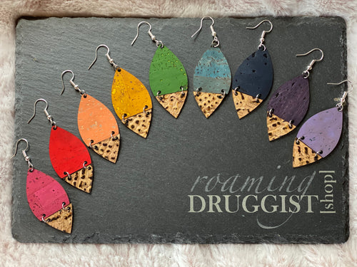 Hinge Leaf Cork Leather Earrings