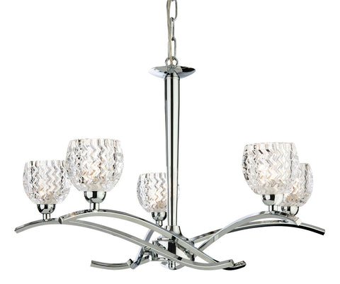 Crystal and Chrome Ceiling Pendant - 5 light