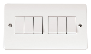CLICK MODE 6-GANG 2-WAY 10A PLATE SWITCH