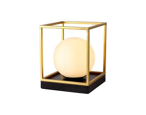 HELENA Table Lamp, 1 Light E14, Matt Black/Painted Gold