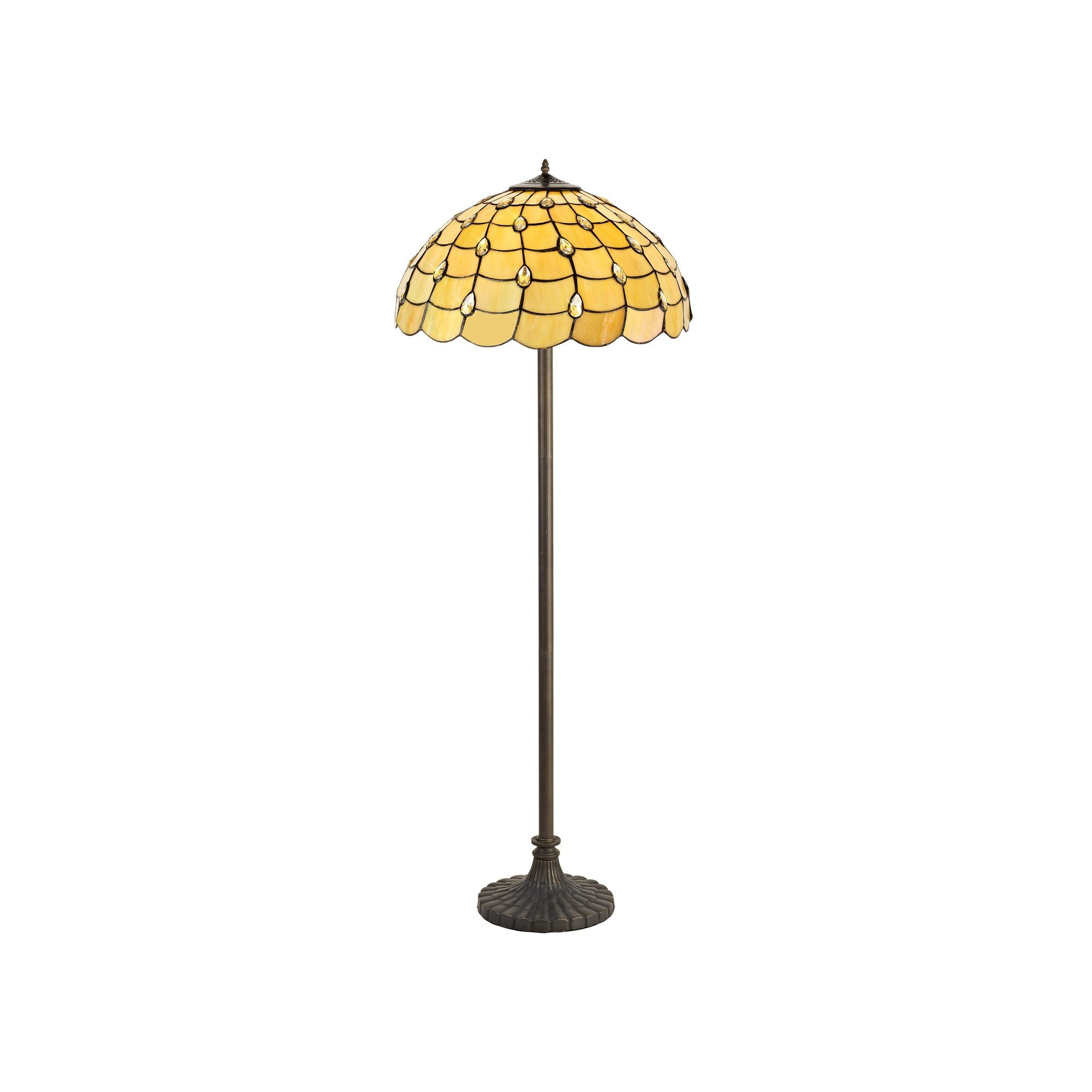 HONEY 2 Light Stepped Design Floor Lamp E27 With 50cm Tiffany Shade, Beige/Clear Crystal/Aged Antique Brass