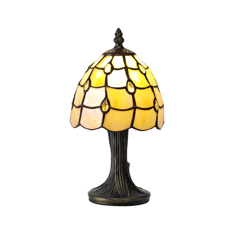 HONEY Tiffany Table Lamp, 1 x E14, Black/Gold, Beige/Clear Crystal Shade