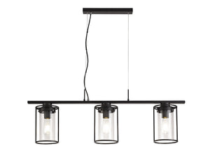 LIBRA Linear Pendant, 3 Light E27, Black/Clear Glass