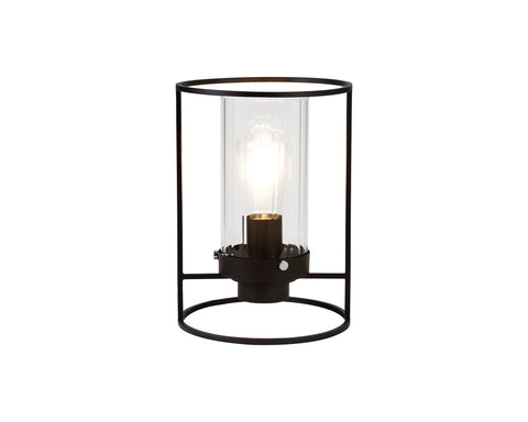 LIBRA Table Lamp, 1 Light E27, Black/Clear Glass