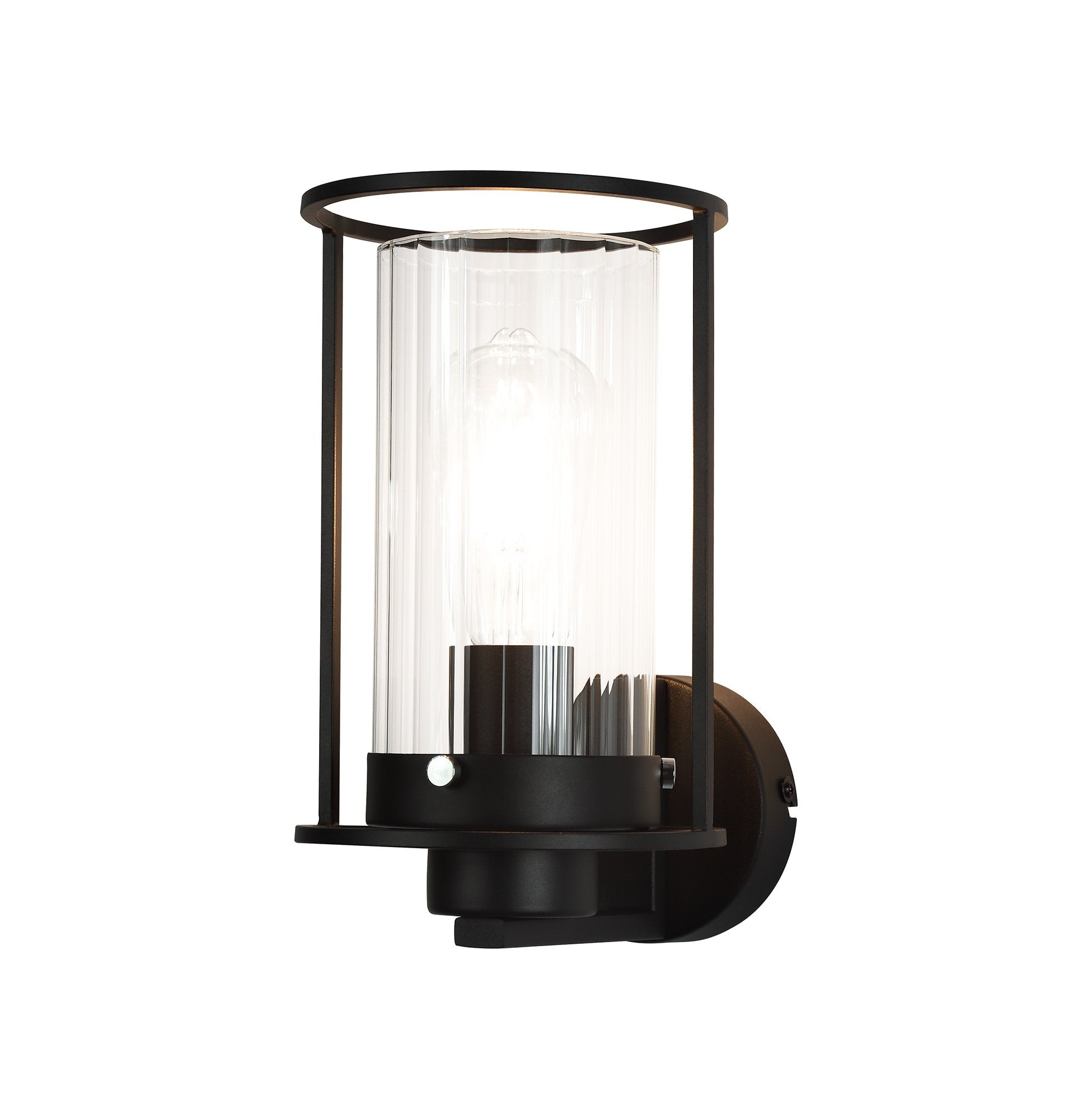 LIBRA Wall Light, 1 Light E27, Black/Clear Glass (2LT159A)
