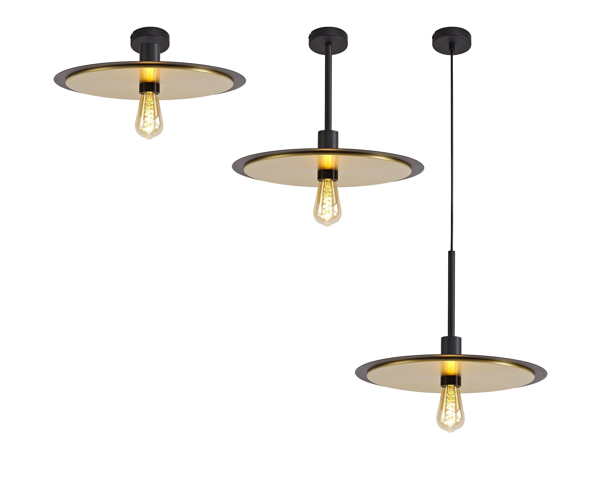 MEMPHIS Single 3 In1 Ceiling Flush, Semi-Fush & Pendant Light, 1 Light Adjustable E27, Black/Gold (2LT181A)