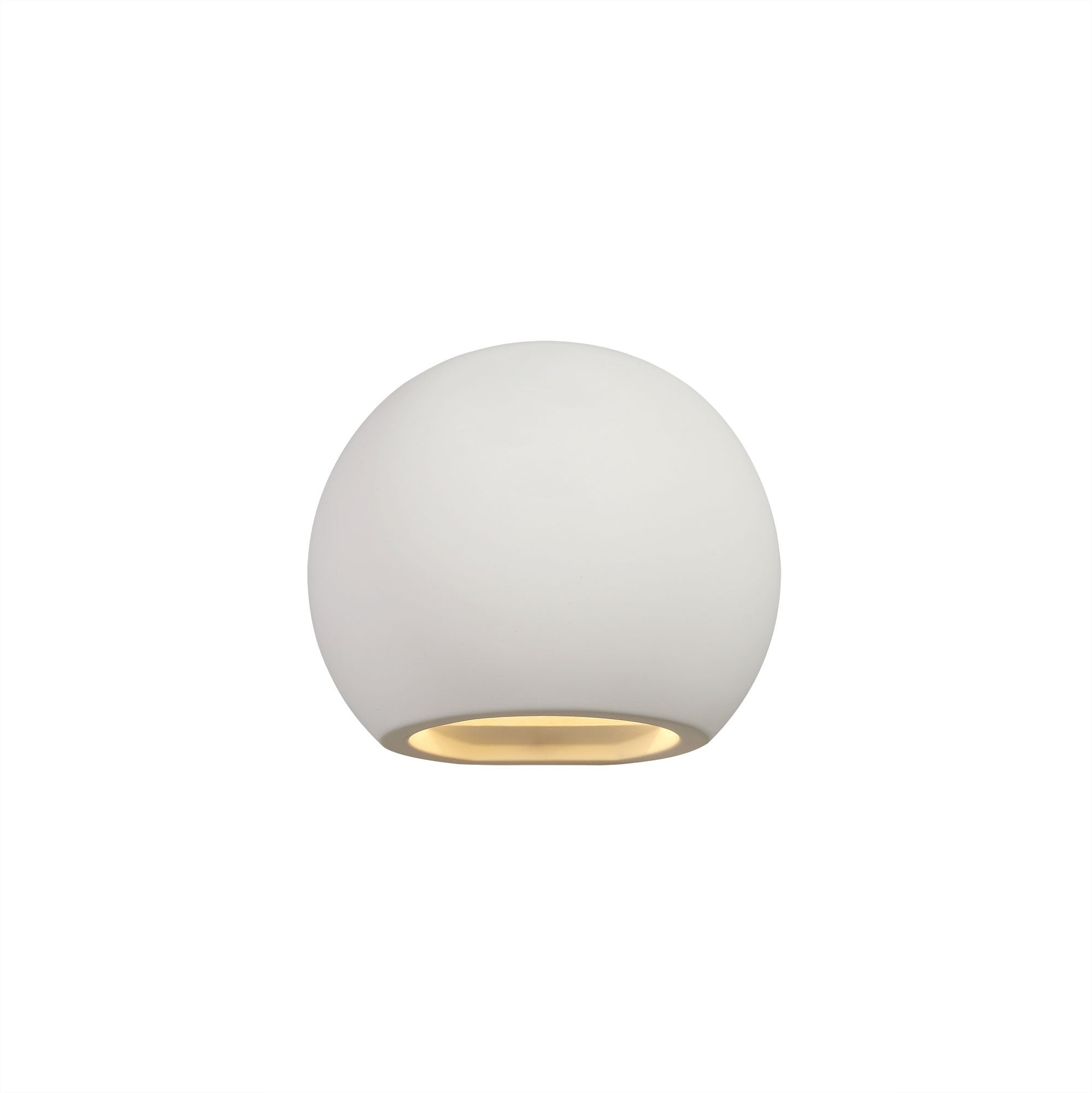 PAINT Round Ball Up & Down Wall Lamp, 1 x G9, White Paintable Gypsum (2LT205B)