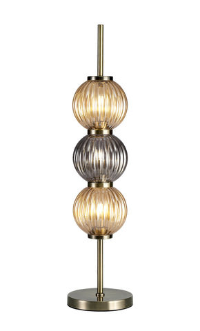 PEARL Table Lamp, 3 x G9, Antique Brass/Smoked & Amber Glass