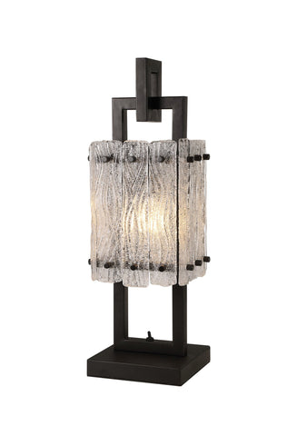 SLATE Table Lamp, 1 Light E27, Matt Black/Crystal Sand Glass
