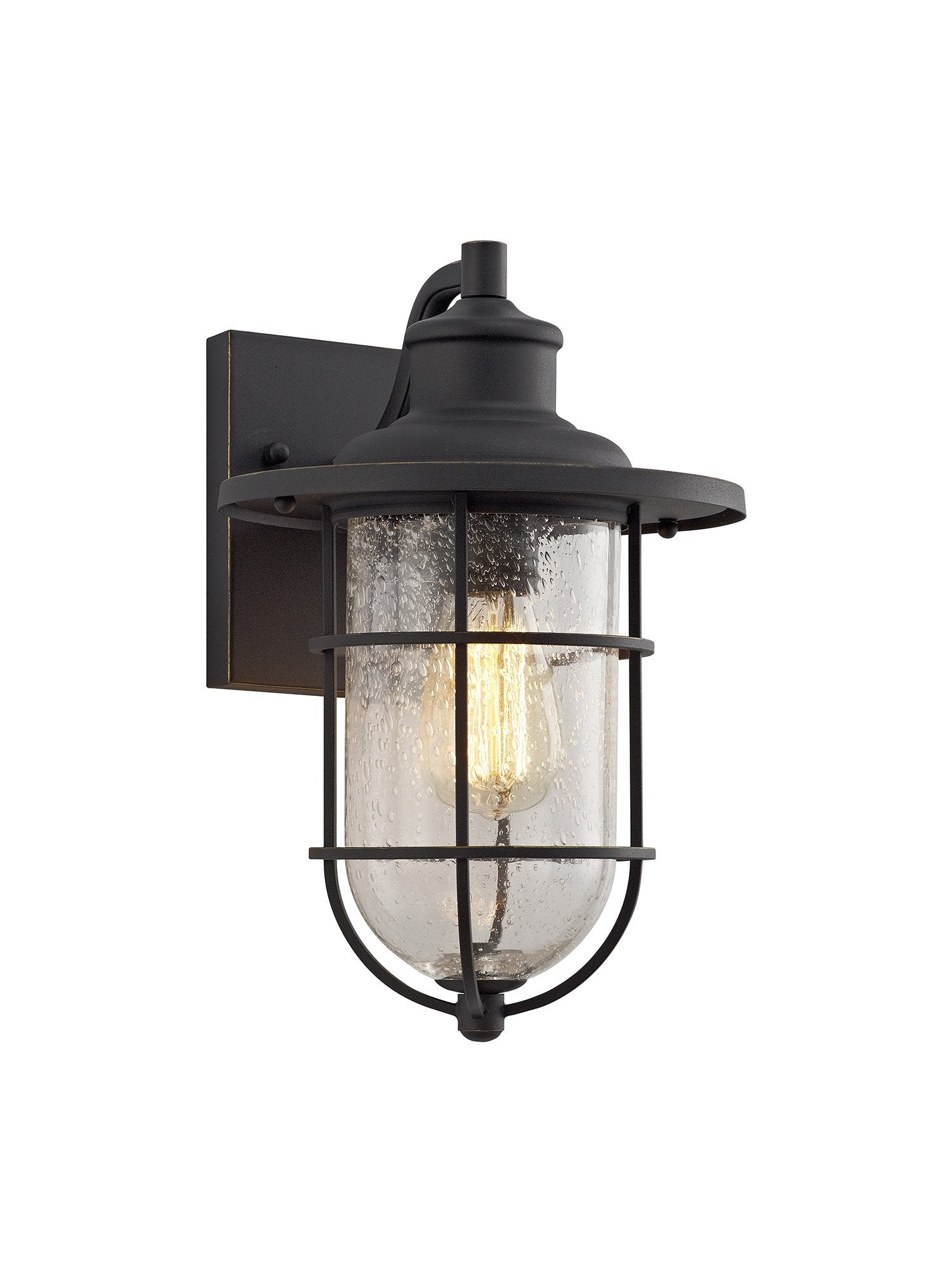 TRAWLER Wall Lamp, 1 x E27, Black/Gold With Seeded Clear Glass, IP54, 2yrs Warranty (2LT325A)