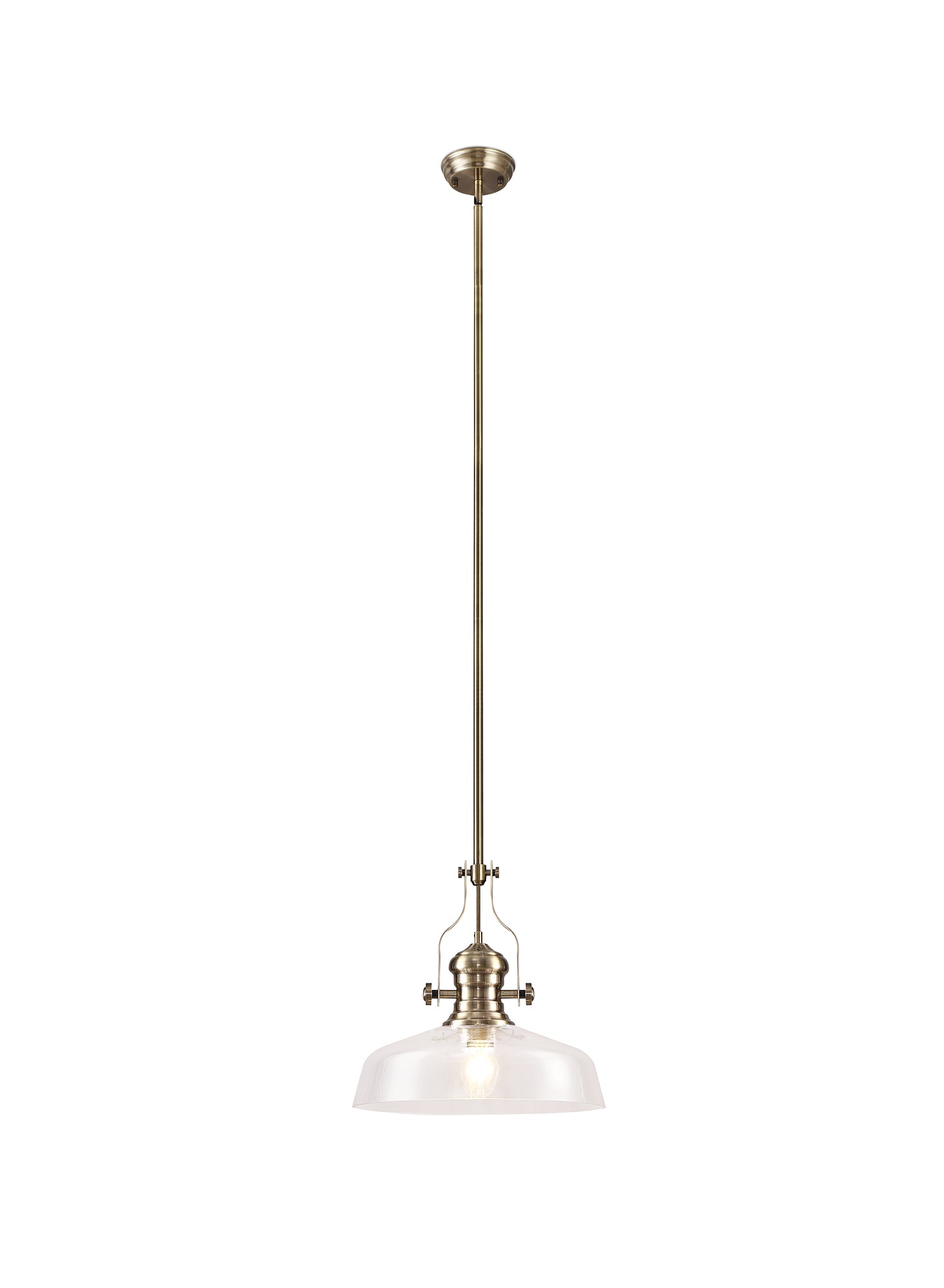 WAREHOUSE Pendant With 38cm Flat Round Shade, 1 x E27, Antique Brass/Clear Glass