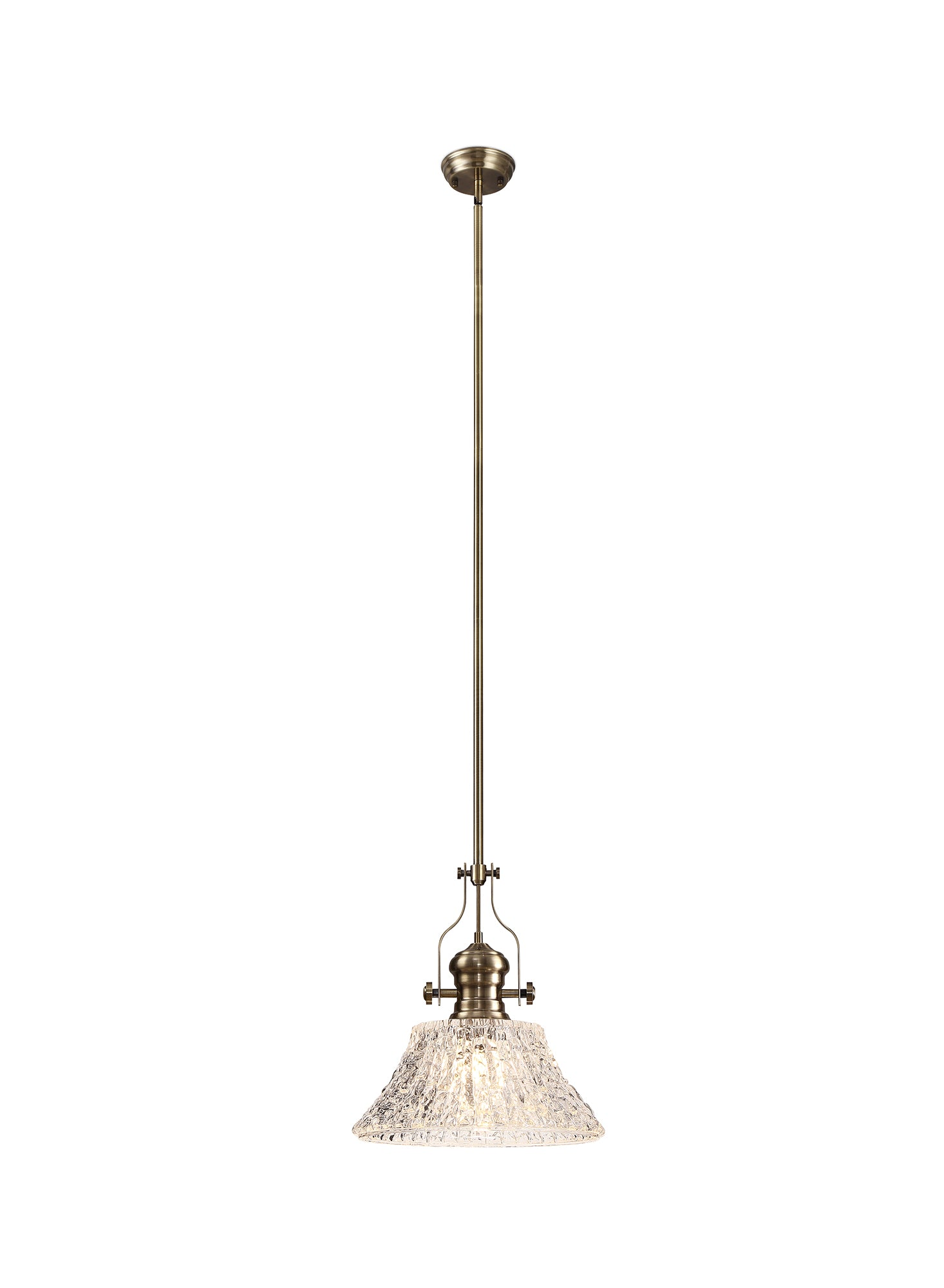 WAREHOUSE Pendant With 38cm Patterned Round Shade, 1 x E27, Antique Brass/Clear Glass