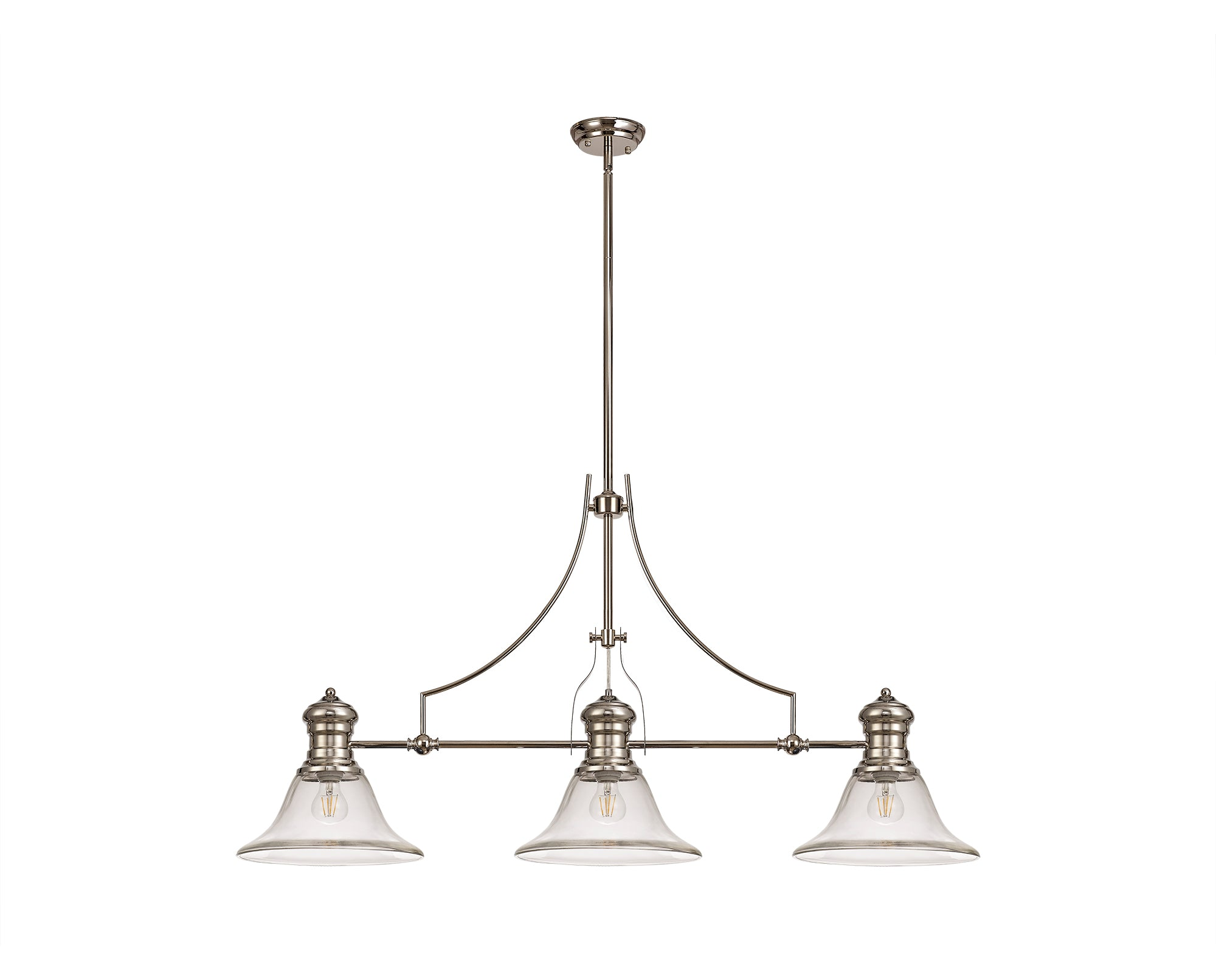 WAREHOUSE 3 Light Telescopic Pendant E27 With 30cm Smooth Bell Glass Shade, Polished Nickel/Clear