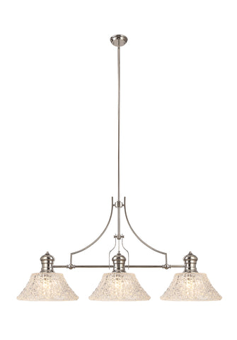 WAREHOUSE Linear Pendant With 38cm Patterned Round Shade, 3 x E27, Polished Nickel/Clear Glass