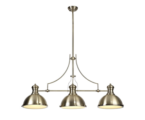 WAREHOUSE Linear Pendant, 3 x E27, Antique Brass/Frosted Glass