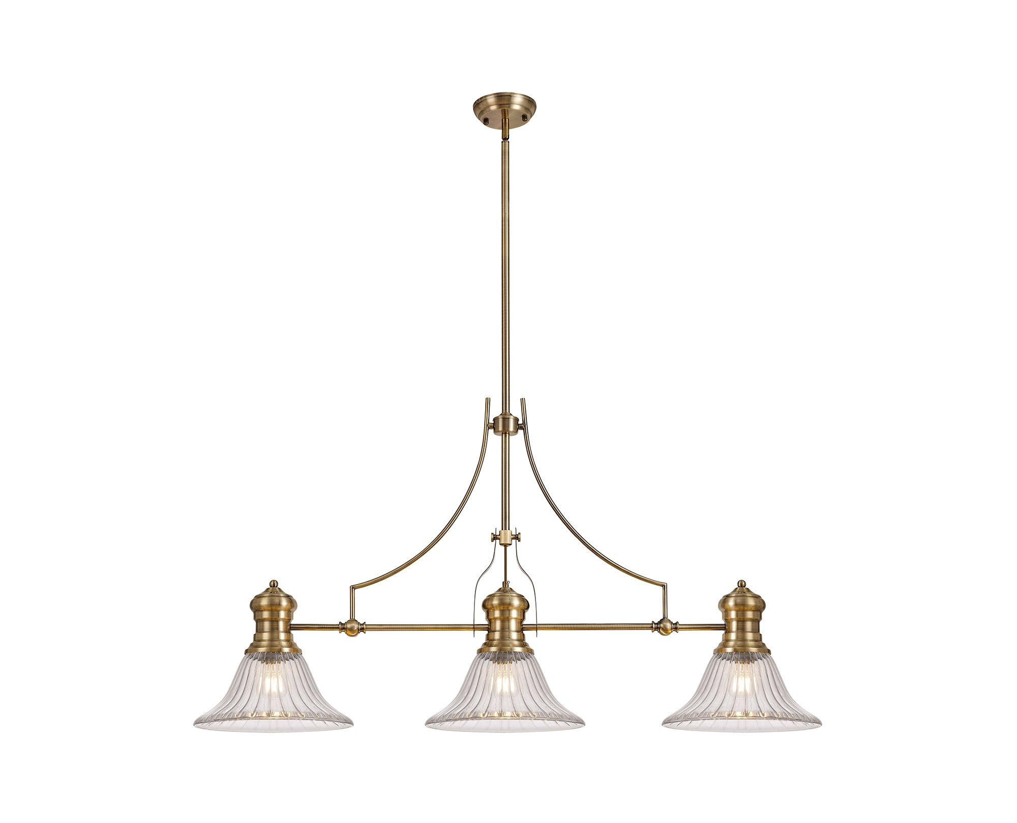 WAREHOUSE 3 Light Telescopic Pendant E27 With 30cm Bell Glass Shade, Antique Brass/Clear