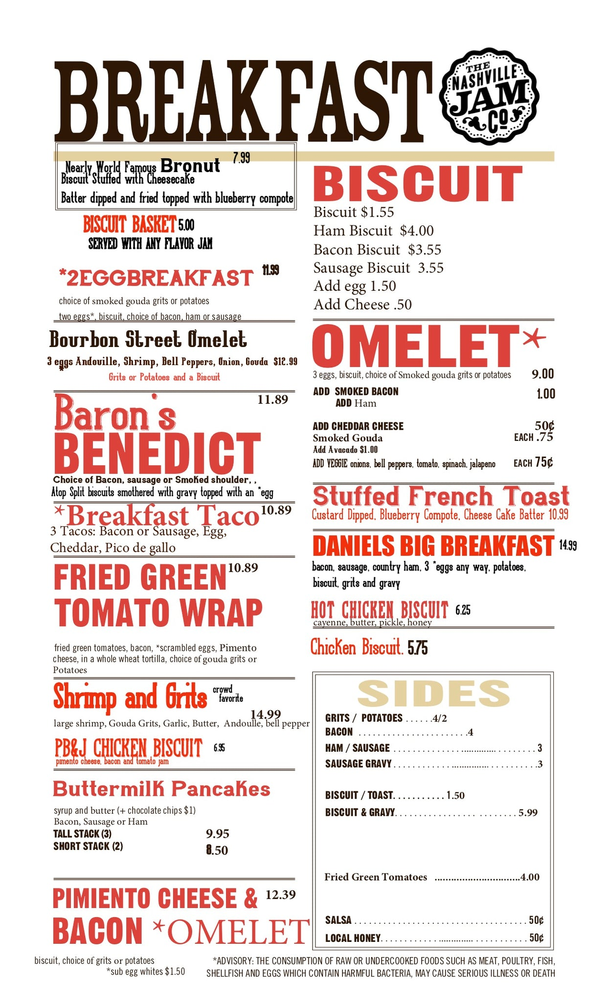 The Nashville Jam Cafe Menu
