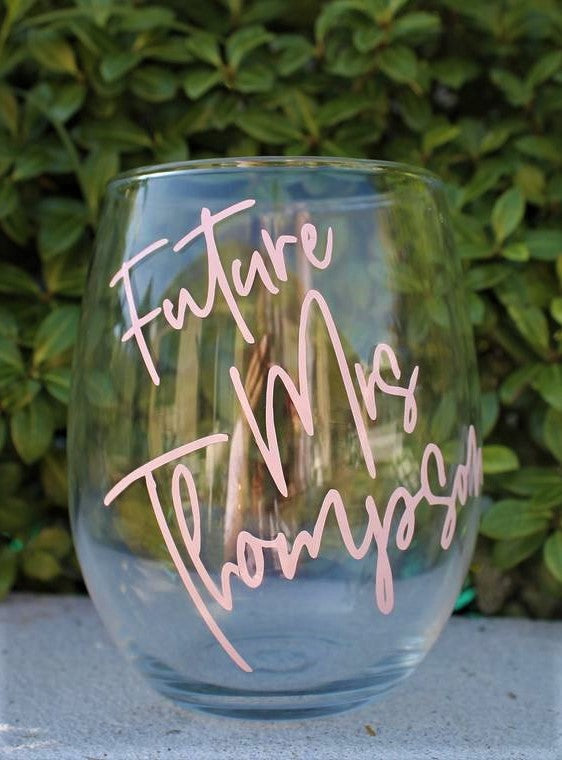Personalised Future Mrs Stemless Wine Glass