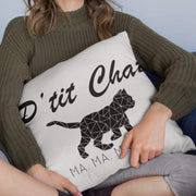 Coussin Chat <br/> P'tit Chat Ma Ma Maow Blanc Ceat Me
