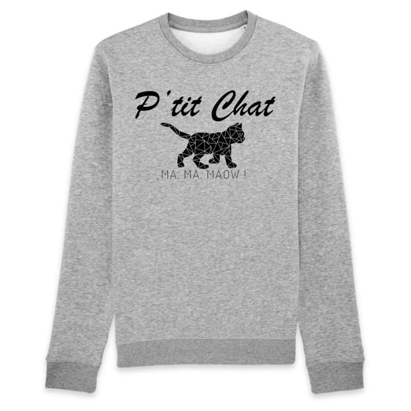 Sweat Chat Homme <br/> P'tit Chat Ma Ma Maow XS / Gris Ceat Me