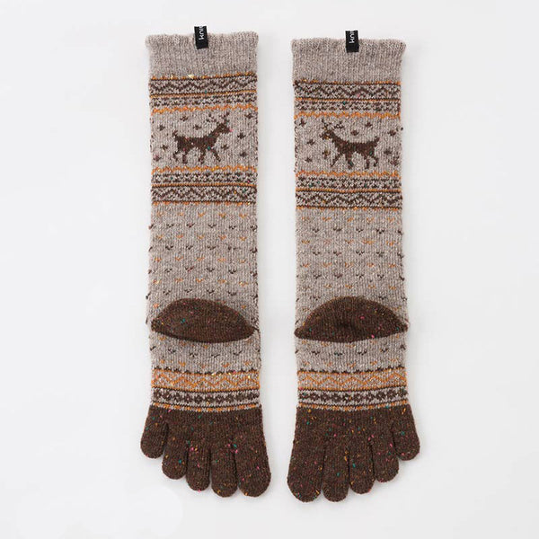 WOOL BLEND NORDIC CONFETTI MIDCALF TOE SOCKS