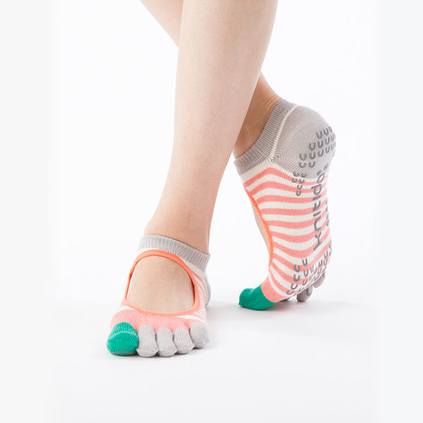 ORGANIC COTTON STRIPES TOE LINER SOCKS