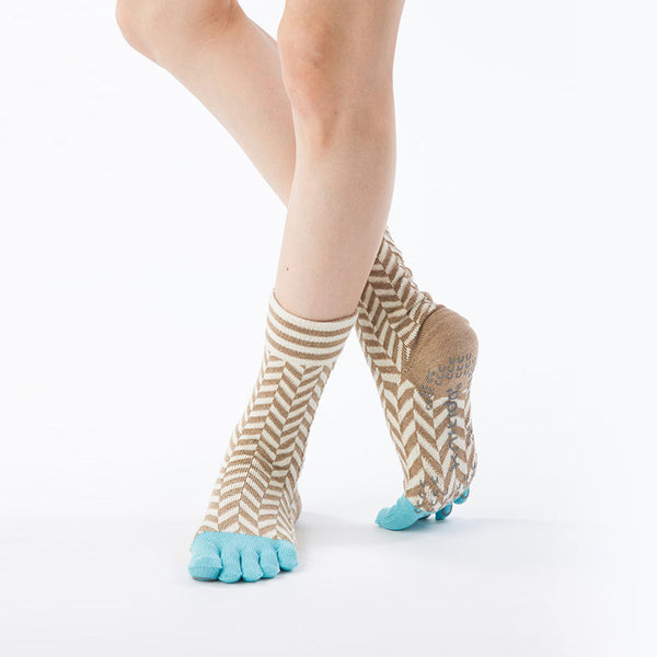 ORGANIC COTTON HERRINGBONE MIDCALF TOE SOCKS