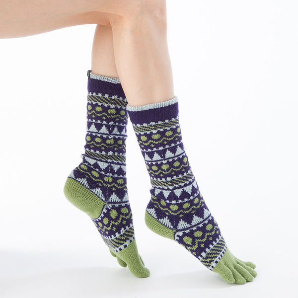 WOOL BLEND FOREST TEXTILE MIDCALF TOE SOCKS