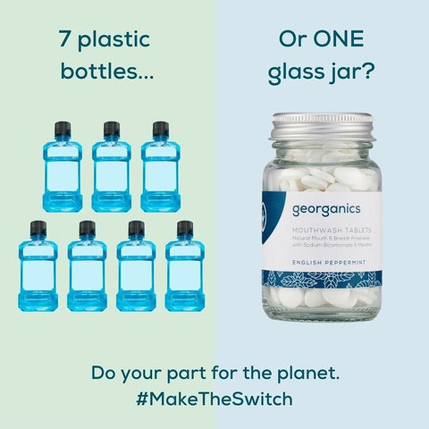Comparison showing 7 plastic bottles is the equivalent to 1 of our glass jars.