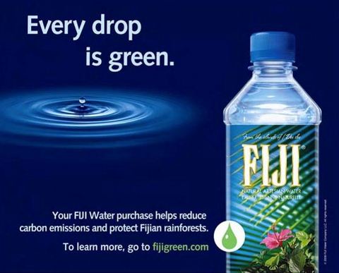 Fuji water's advert for being 'green'.