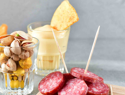 Salami Chips and Mustard Dipping Sauce