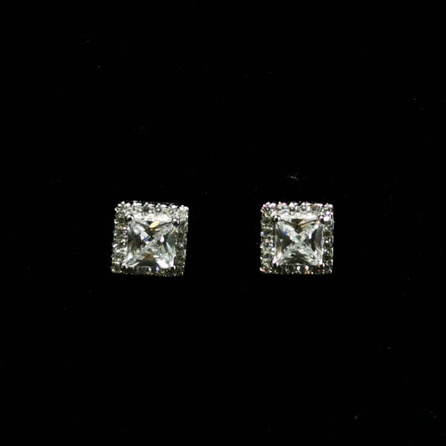 Princess Cut CZ Studs