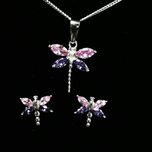 Sterling Silver CZ Dragonfly Set