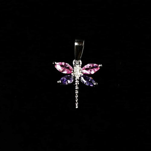 Pink and Purple CZ Dragonfly Pendant