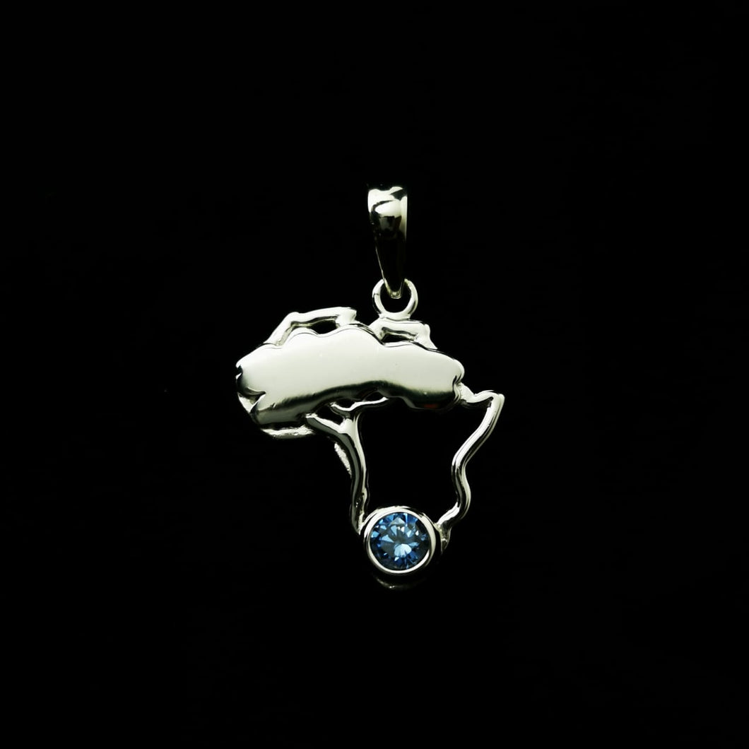 Africa Themed Pendant with Blue CZ