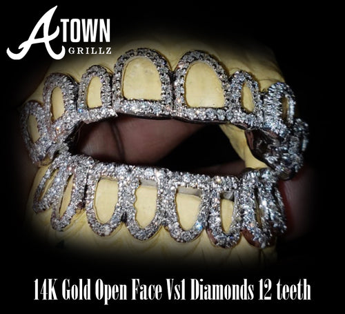 Open Face Diamond Grill 16 Teeth