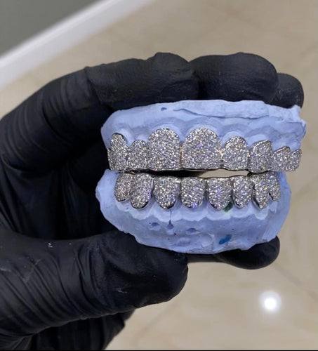 10k Si Flooded Diamond Grillz