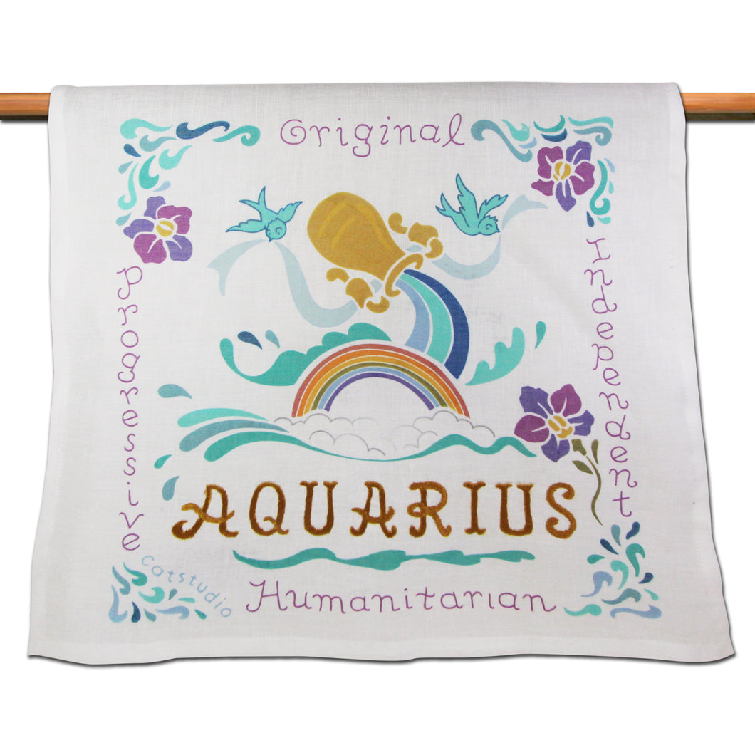 Aquarius Astrology Dish Towel