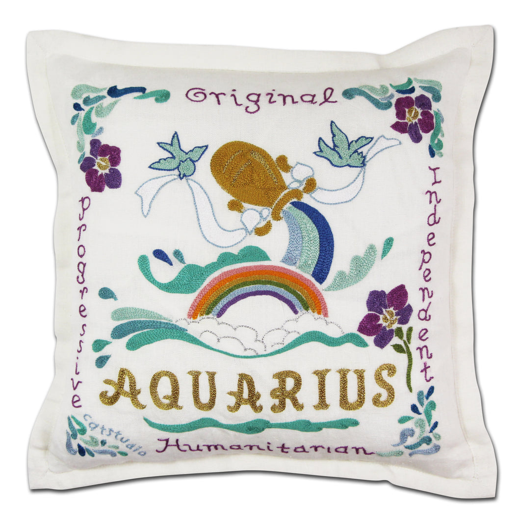 Aquarius Astrology Hand-Embroidered Pillow