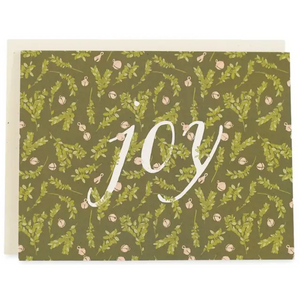 Joy Greeting Card, Boxwood And Bells