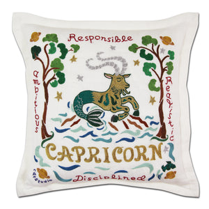 Capricorn Astrology Hand-Embroidered Pillow