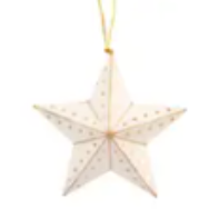 Gold & White Star Ornament