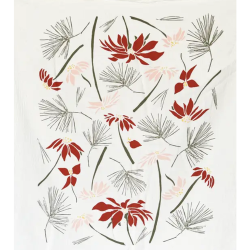 Poinsettia & Pine Kitchen Towel