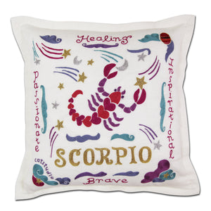 Scorpio Astrology Hand-Embroidered Pillow